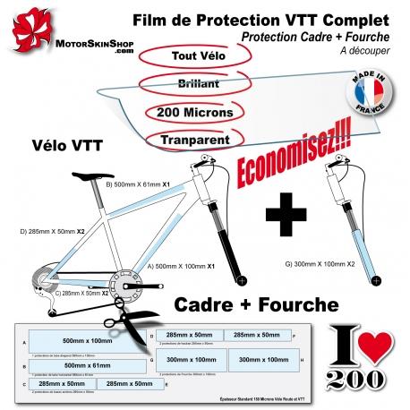 Film de Protection Vélo Route Cadre + Fourche économique mat ou brillant