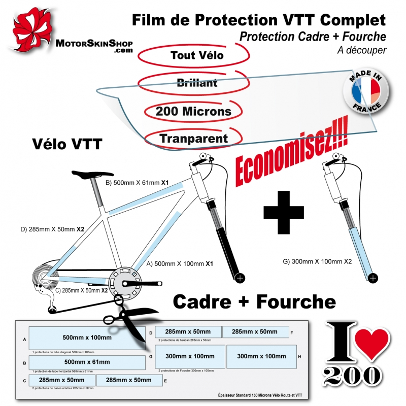 de protection vtt cadre fourche 233 conomique mat ou brillant