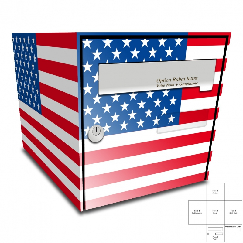 sticker boite aux lettres drapeau americain. Black Bedroom Furniture Sets. Home Design Ideas