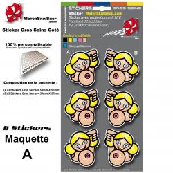 Planche Sticker Gros Seins Fille Coté