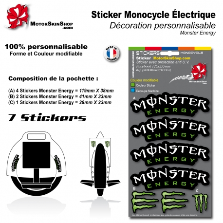Planche Sticker Monocycle électique Monster Energy