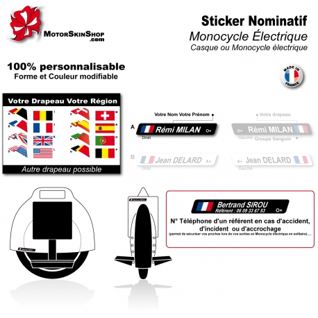 Sticker nominatif monocycle électrique personnalisable