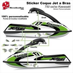 Sticker coque Jet Ski bras 750 sxi Kawasaki
