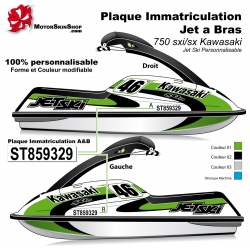 Sticker Plaque immatriculation Jet SKI a bras