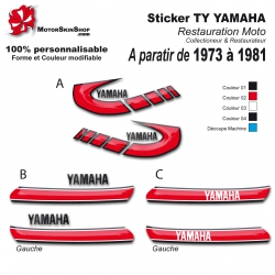 Sticker TY Yamaha restauration de 1973 à 1981
