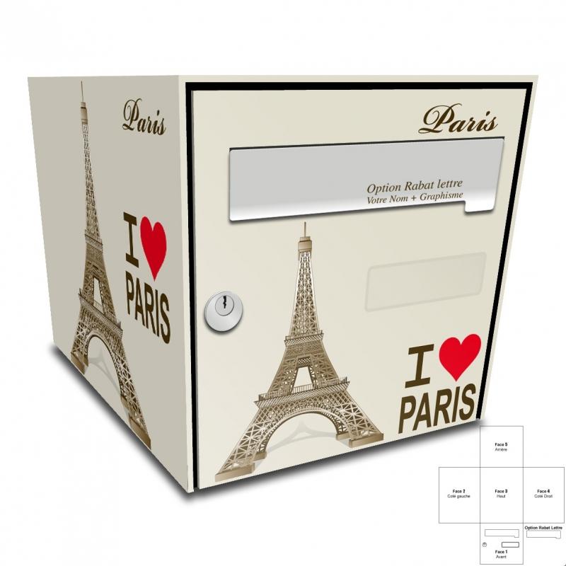 sticker boite aux lettres tour eiffel paris. Black Bedroom Furniture Sets. Home Design Ideas