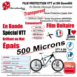 Film Protection cadre VTT 500 Microns Universel Bande Découpé