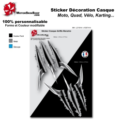 Planche Sticker Griffe Wolverine Monstre Lame Arme casque