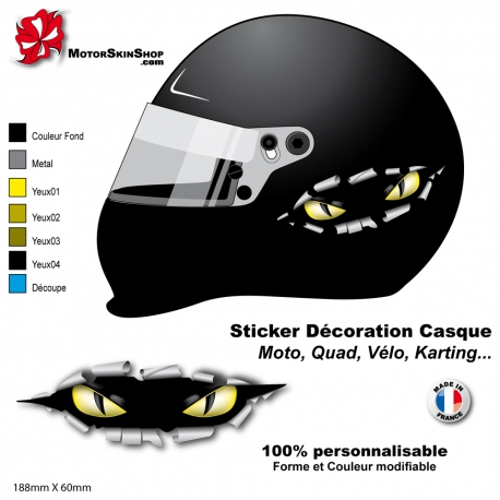 Sticker casque moto œil carrosserie