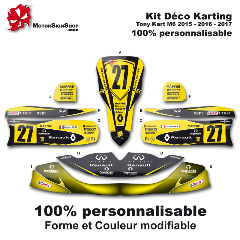 Kit d co m6 tony kart karting personnalisable renault f1 for Deco karting