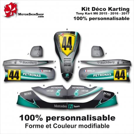 Kit déco M6 Tony Kart Karting Personnalisable Mercedes F1 2017