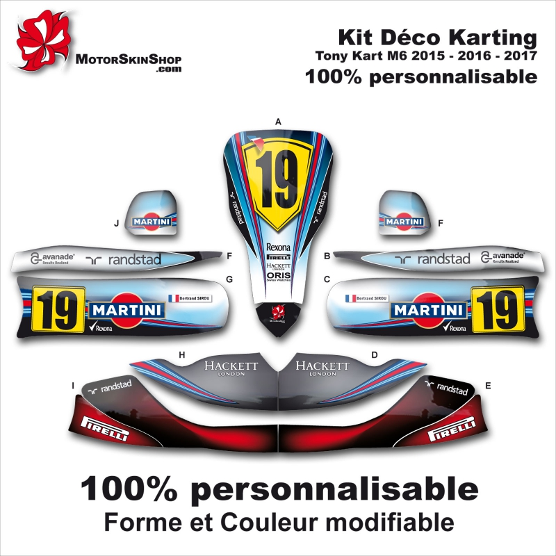 Kit déco M6 Tony Kart Karting Personnalisable Williams FX40