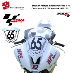 Sticker Plaque Avant Course Pour R6 YFZ 2009 à 2017