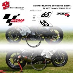 Sticker Numéro de course Sabot R6 YZF Yamaha 2009 à 2016