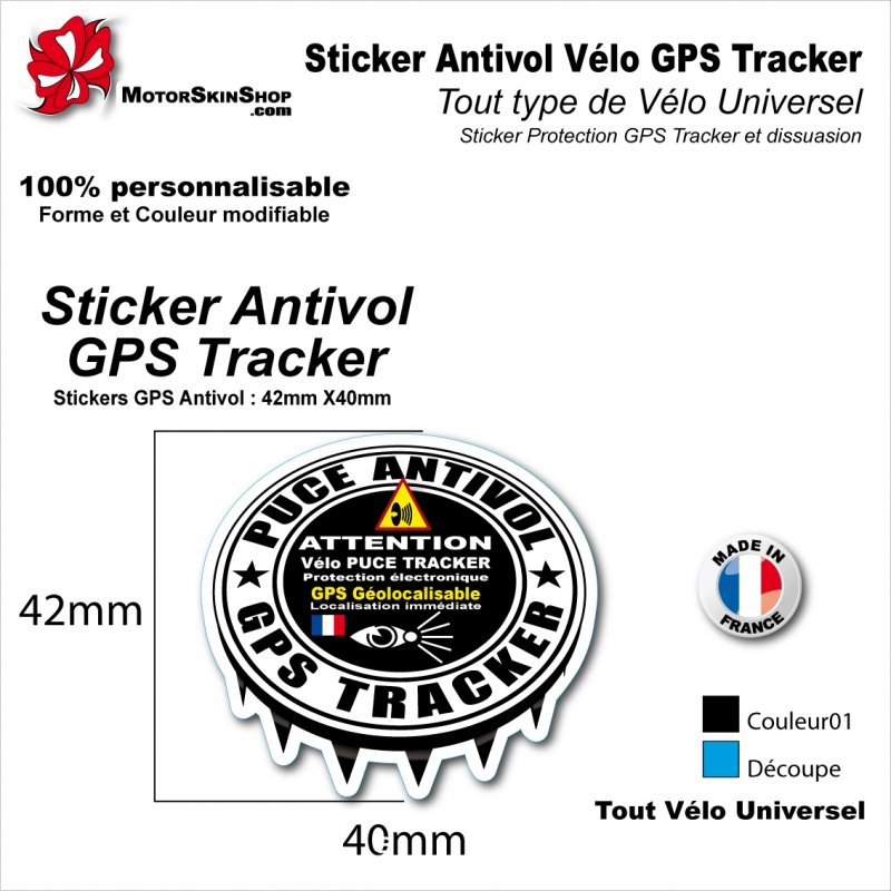 sticker antivol v lo gps tracker alarme couleur tout type de v lo. Black Bedroom Furniture Sets. Home Design Ideas