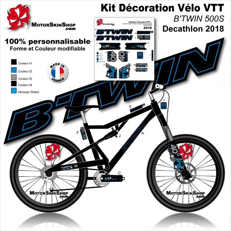 Sticker cadre vtt b 39 twin rockrider 500s 540s 560s 740s for Velo interieur decathlon