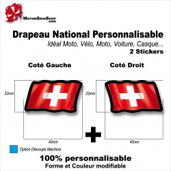 Sticker Drapeau SUISSE National Flottant