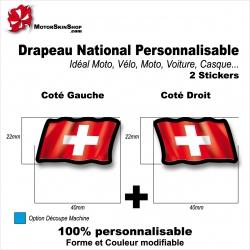 Sticker Drapeau SUISSE National Flottant