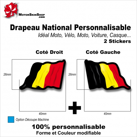Sticker Drapeau BELGE National Flottant Belgique