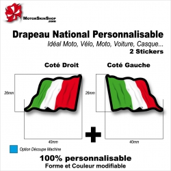 Sticker Drapeau ITALIE National Flottant Italien