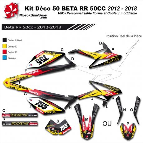Kit déco 50 Beta RR 12-18 RockStar Makita 50CC à boite Perso