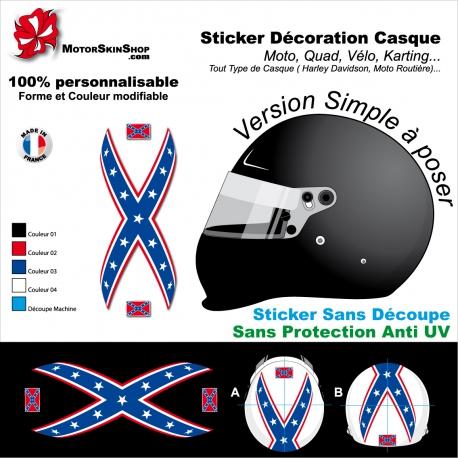 Sticker Casque Drapeau Sudiste Confédéré Design