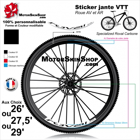 Sticker Jante VTT Roval Control Carbone 2018 25mm
