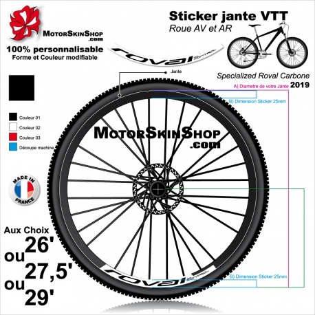 Sticker Jante VTT Roval Control Carbone 2019 25mm