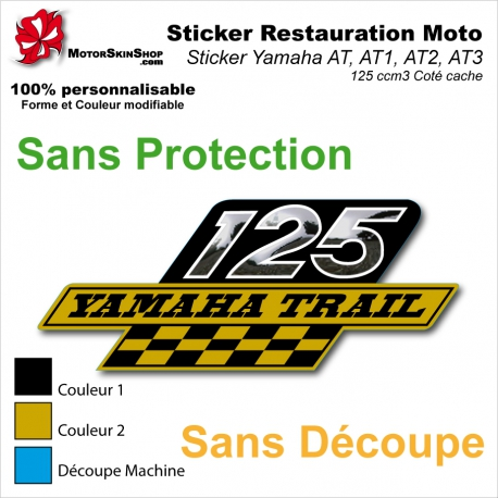 Sticker Yamaha AT AT1 AT2 AT3 125 cm3 Coté cache