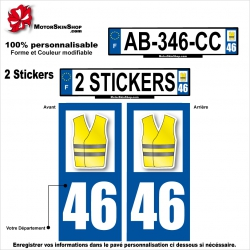 Sticker plaque immatriculation Gilet Jaune