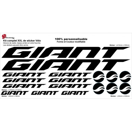 Sticker cadre vélo Giant XXL 2018