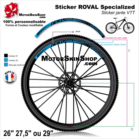 "Sticker Jante VTT ROVAL Specialized 20mm 26"" 27.5"" 29"""