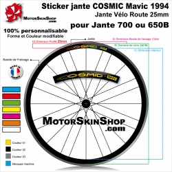 Sticker Jante COSMIC Mavic 1994 vélo roue 700 ou 650B 25MM
