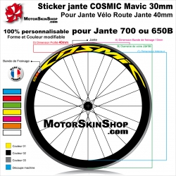Sticker jante COSMIC Mavic 30mm vélo route