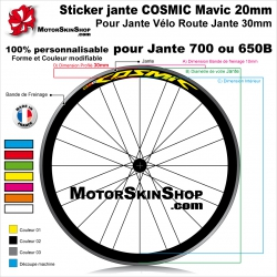 Sticker jante COSMIC Mavic 20mm vélo route