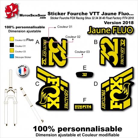Sticker Fourche FOX Racing Shox Fluo 32 34 36 40 Factory Float Evol 2018