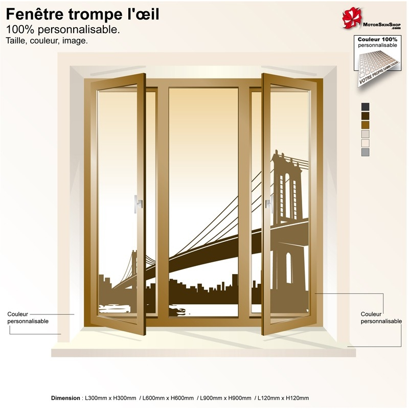 Sticker trompe l 39 il fen tre pont new york for Stickers fenetre new york