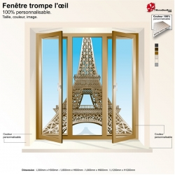 Sticker trompe l'œil fenêtre Tour Eiffel Paris