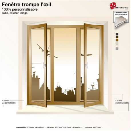Sticker trompe l 39 oeil fen tre toit de paris for Trompe l oeil interieur