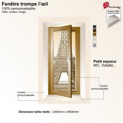 Sticker trompe l'œil petite fenêtre Tour Eiffel