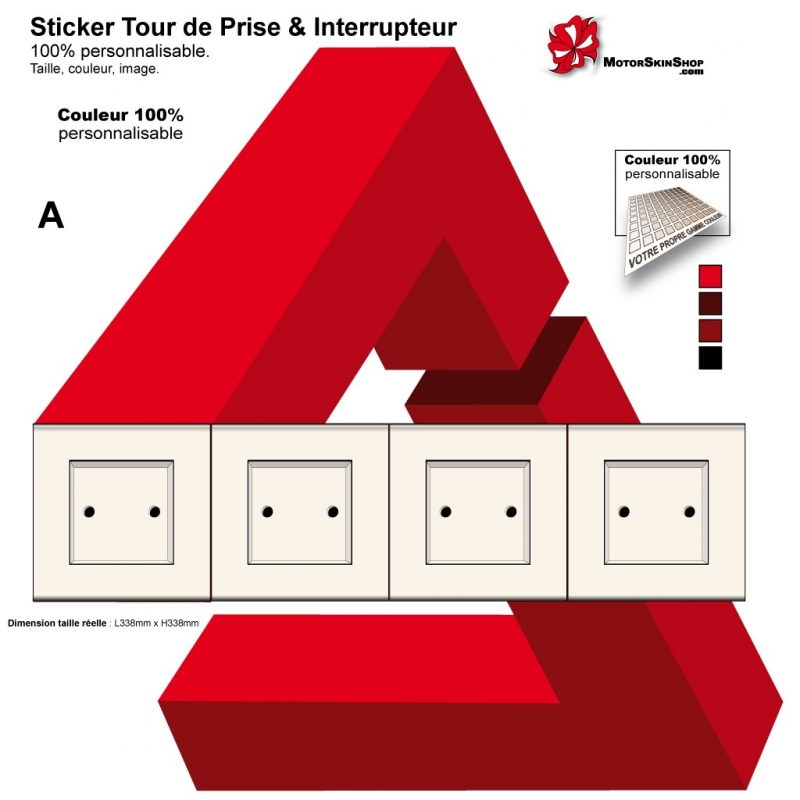 sticker tour de prise ilot plan travail cuisine interrupteur universel. Black Bedroom Furniture Sets. Home Design Ideas