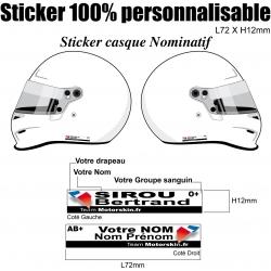 Sticker Casque nominatif Moto Quad Jet-Ski