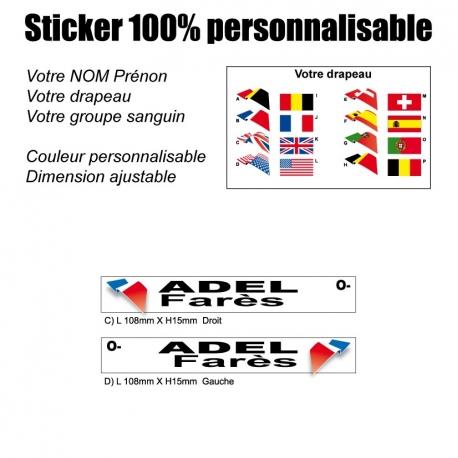 Sticker nominatif Vélo Moto Quad Karting Jet Ski personnalisable