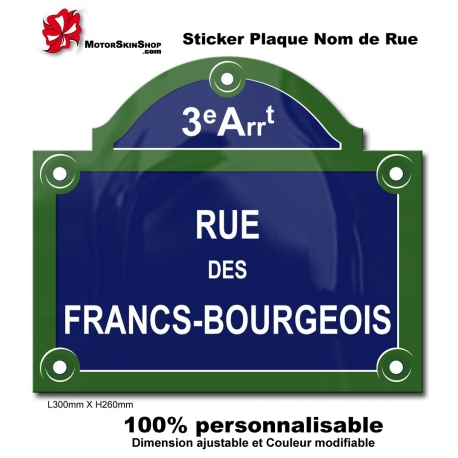 Sticker plaque de rue paris for Stickers exterieur personnalise