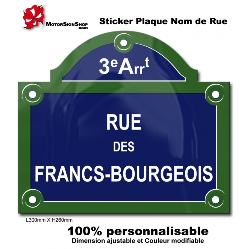 sticker plaque de rue paris. Black Bedroom Furniture Sets. Home Design Ideas