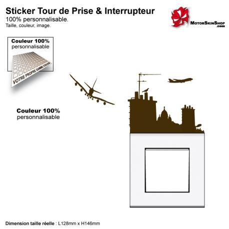 Sticker tour de prise toit de Paris interrupteur