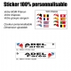 Sticker nominatif Vélo Moto Quad Karting Jet Ski personnalisable