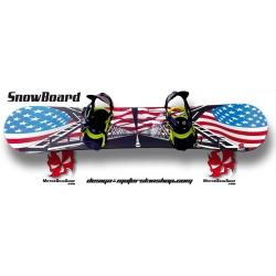 Sticker SnowBoard Drapeau Américain personnalisable