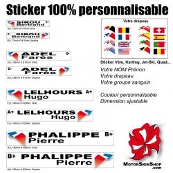 Sticker nominatif Quad Moto Karting Karting Jet Ski personnalisable