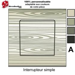 Sticker prise Bois personnalisable interrupteur universel